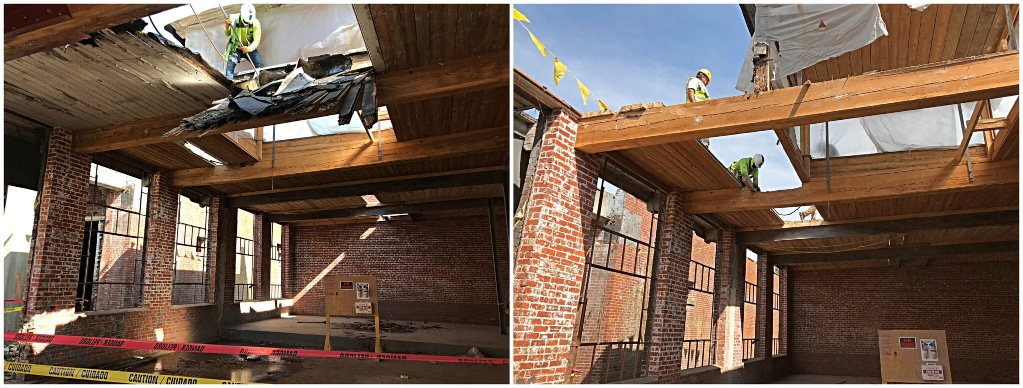Tongue and groove wood decking roof restoration in downtown Hendersonville North Carolina