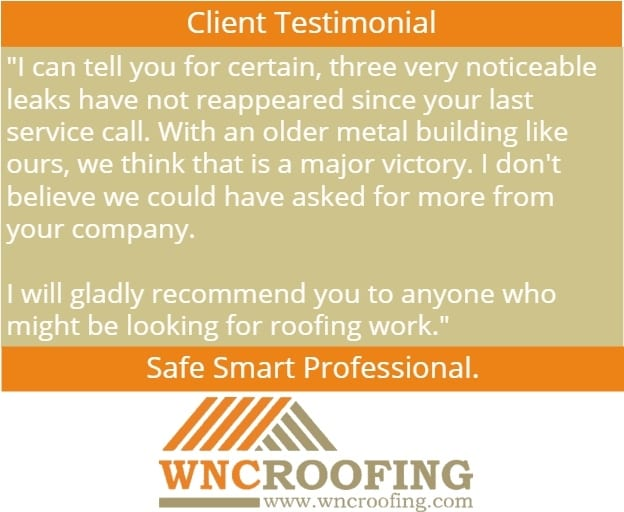Client testimonial for WNC Roofing