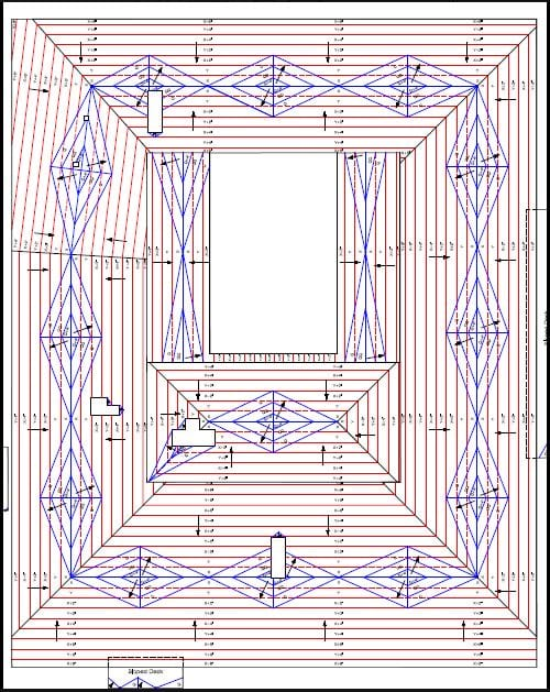 a tapered roof diagram showing where the water will run off