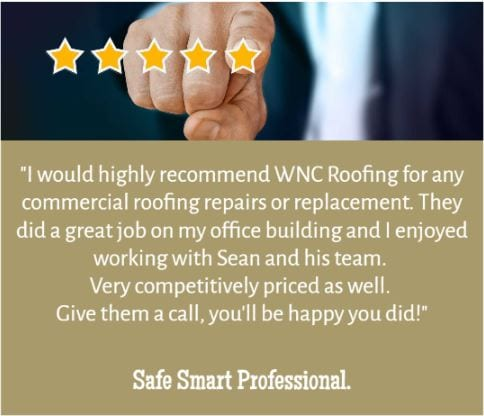 5 star review from a customer of WNC Roofing for repairs