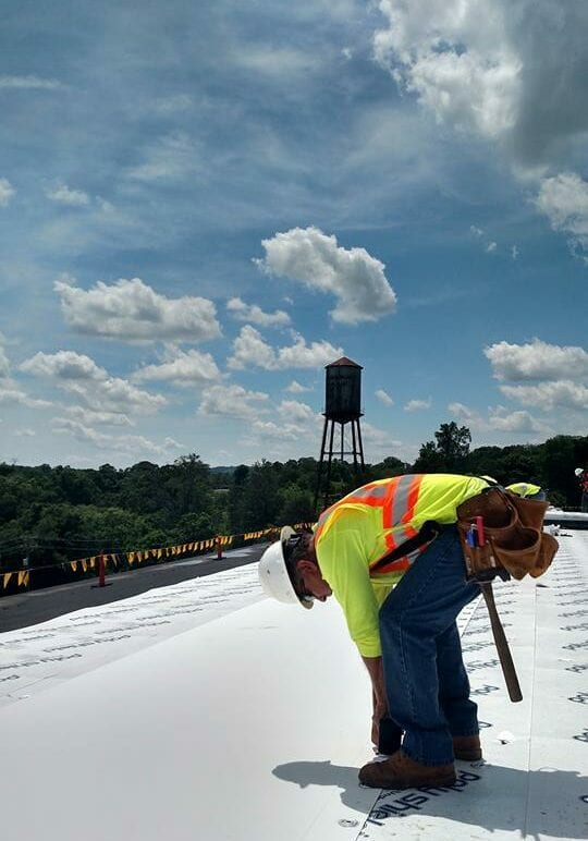WNC Roofing TPO Inspection on rooftop