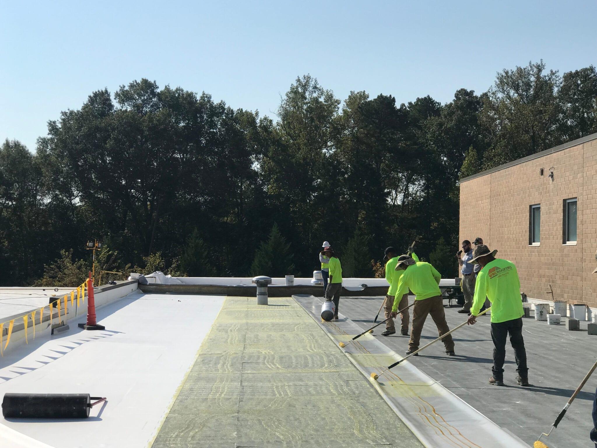 WNC Roofers on a school in greenville, SC