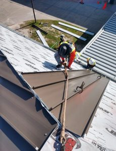 WNC Roofing on a South Carolina School installing a metal roof