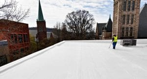 commercial roof repair in greenville sc on a white tpo membrane
