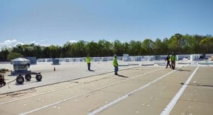 flat roof replacement on a building in spartanburg sc