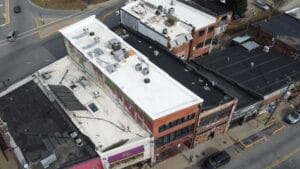 New TPO roof on Loretta's Cafe in Asheville, NC